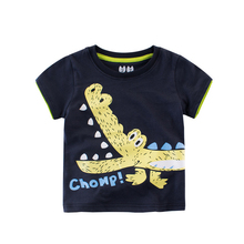 Fashion Kids T-shirts 2017 Summer Crocodile Printed T Shirts Children T-shirt Cotton Casual Boy's Clothes T Shirt Boys Top(China)