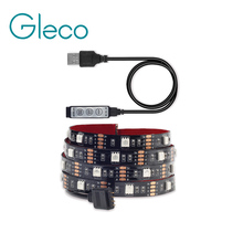 5V USB LED strip 5050 RGB Flexible Light 1M 2M TV Background Light RGB LED Tape Mini 3Key RGB Controller(China)