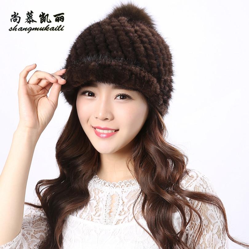 Mink fur Beanies for winter Genuine Mink Fur knitted hat female caps black coffee Beanies for women hat with for pom poms BeanieÎäåæäà è àêñåññóàðû<br><br>