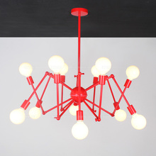 Bar Salon red spider lamp chandelier 8/12 pcs E27 dining room novelty satellite light hanging chandelier black iron lamparas(China)