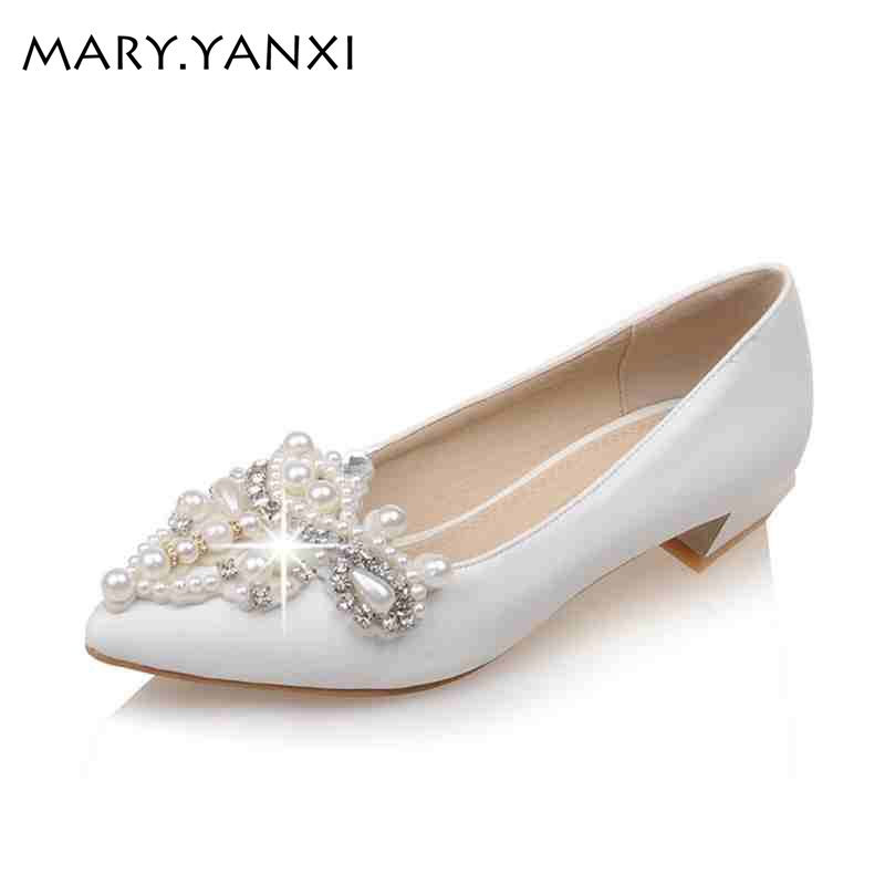Bridal Rhinestone women shoes fashion pearl Beading Flat Shoes Pointed Toe High quality Spring/Autumn Mary Janes Wedding Shoes<br>