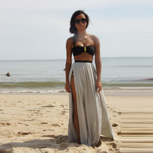 Hot Sexy High Slits Chiffon Skirt A Line Floor Length One Layer Thick Cool Maxi Skirt Summer Beach Style Long Skirts Women