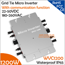 Waterproof!!! 1200W micro inverter with communication function 22-50VDC 180-260VAC grid tie inverter for 4pcs 300W 36V PV panels