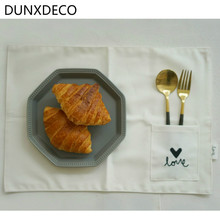 DUNXDECO Table Placemat Plate Pad Chic TableCloth Lunch Bowl Mat Food Photo Ground Fabric Romantic Sweet Love Words Embroidery