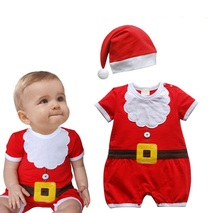 2017 New Arrival Baby Christmas Rompers Santa Claus Cosplay jumpsuit Hats Newborn Baby Girl Boy Christmas Dinner Clothes Wear(China)