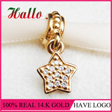 100% Real 14ct Gold & Diamond Star Pave Pendant Charms Fit Brand Bracelet pulseira masculina feminina 2017 Women Fine Jewelry R(China)