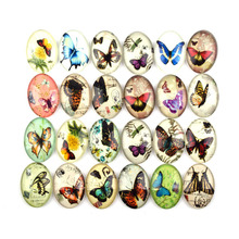 Wholesale Cheap Oval Glass Butterfly Cabochon Mix Photos Cartoon Butterfly Image Glass Cabochons Flat Back 20pcs/lot