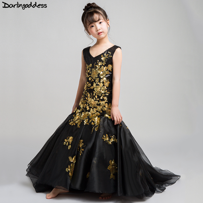 Elegant Black Mermaid Girls Dresses for Party and Weddings Gold Lace Evening Dresses for Girls Kids Flower Girl Dresses 2018