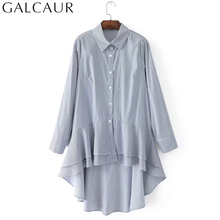 GALCAUR Striped Ruffles Women's Blouses Shirts Large Big Size Tops Autumn 2017 Long Sleeve Pleated Hem Shirt Casual Clothing(China)