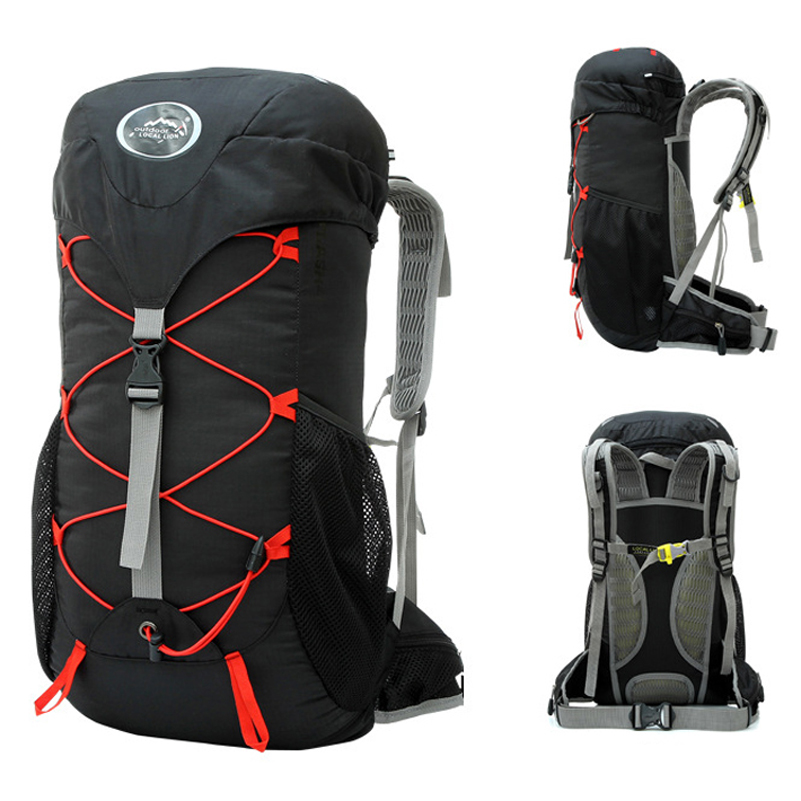 35L Outdoor Mountaineering Bag Double Shoulder Bag Bulk Camping Hiking Backpack Waterproof Nylon Fabric Cloth Sport Bag