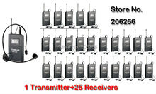 New Takstar WTG-500/WTG 500 UHF PLL Wireless Acoustic Transmission System 1 Transmitter+25 Receivers+1 Headworn MIC+25 Earphone(China)