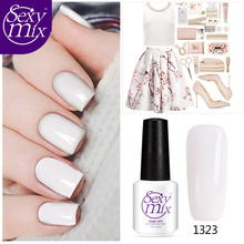 2017 Newest Nude White Color Series Nail Gel Polish Varnish Nail Art UV Led Soak off Gel Nail Polish 7ML Glitter Nail Lacquer