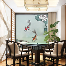 Stained Static Cling Window Film Frosted Opaque Privacy Glass Sticker Home Decor Digital print BLT1145 Carp and Lotus(China)