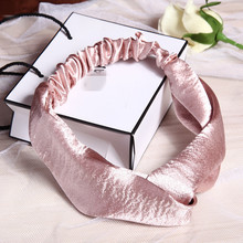 Fashion Women Top Quality Silk Feeling Material Solid Satin Hairbands Vintage Cross Headbands Plain Fabric Elastic Band Headwear(China)