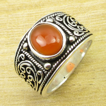 Classic Gem Ring Size US 9.25 !  Silver Plated Carnelian Jewelry ONLINE STORE