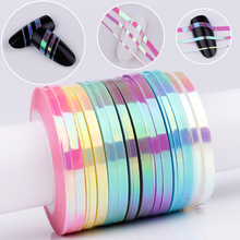 BORN QUEEN 21Pcs Mermaid Nail Striping Tape Line Stickers Candy Color Adhesive Decals 3D DIY Nail Art Manicure Decoration(China)