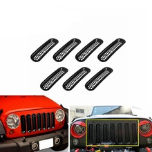 7Pcs Black Silver ABS Mesh Front Grille Trim Cover Car Inserts Racing Grille For Bumper Jeep Wrangler JK 2007-2015