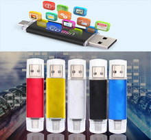 OTG external Smart Phone 2 in 1 USB Flash Drive Metal Disk Classic 64/32/16/8/4G key robot stick pendrive wholesale lot usb 128G(China)