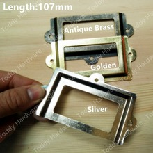 107*61mm Antique Brass /Golden Color Vintage Metal Label Pull Frame Handle Card Holder For Furniture Cabinet Drawer Box Case Bin