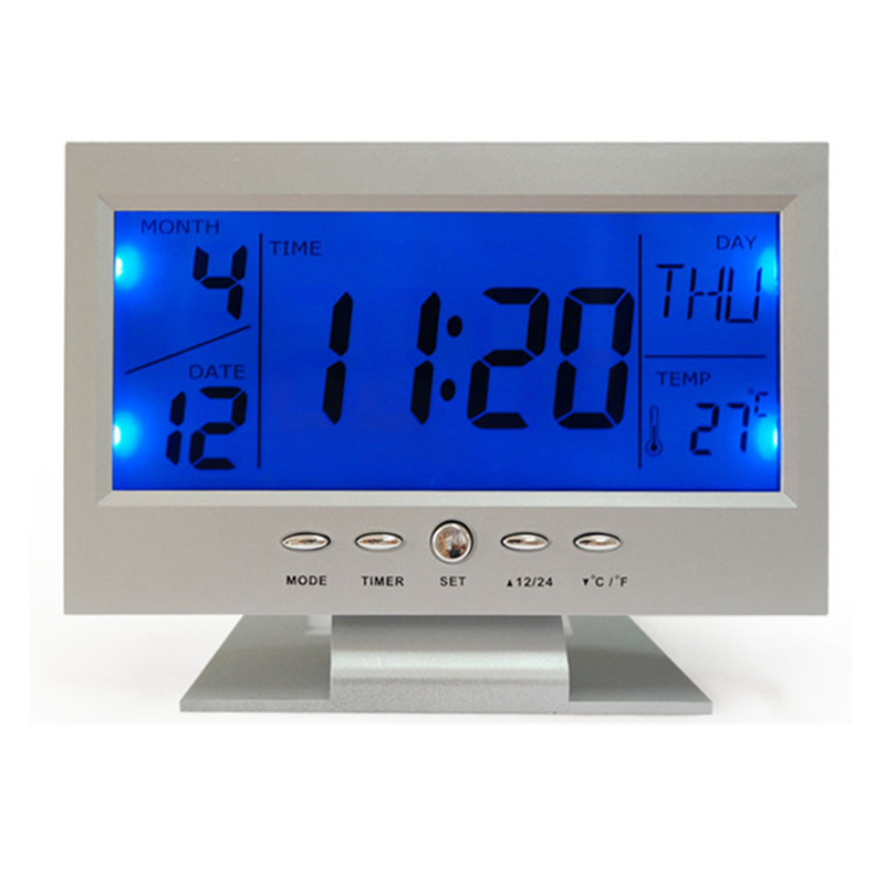 YOHAPP TV Blue Backlight Voice Control Digital Alarm Clock Snooze Desk Table Clock Temperature Large-Display Black LED Clock(China)