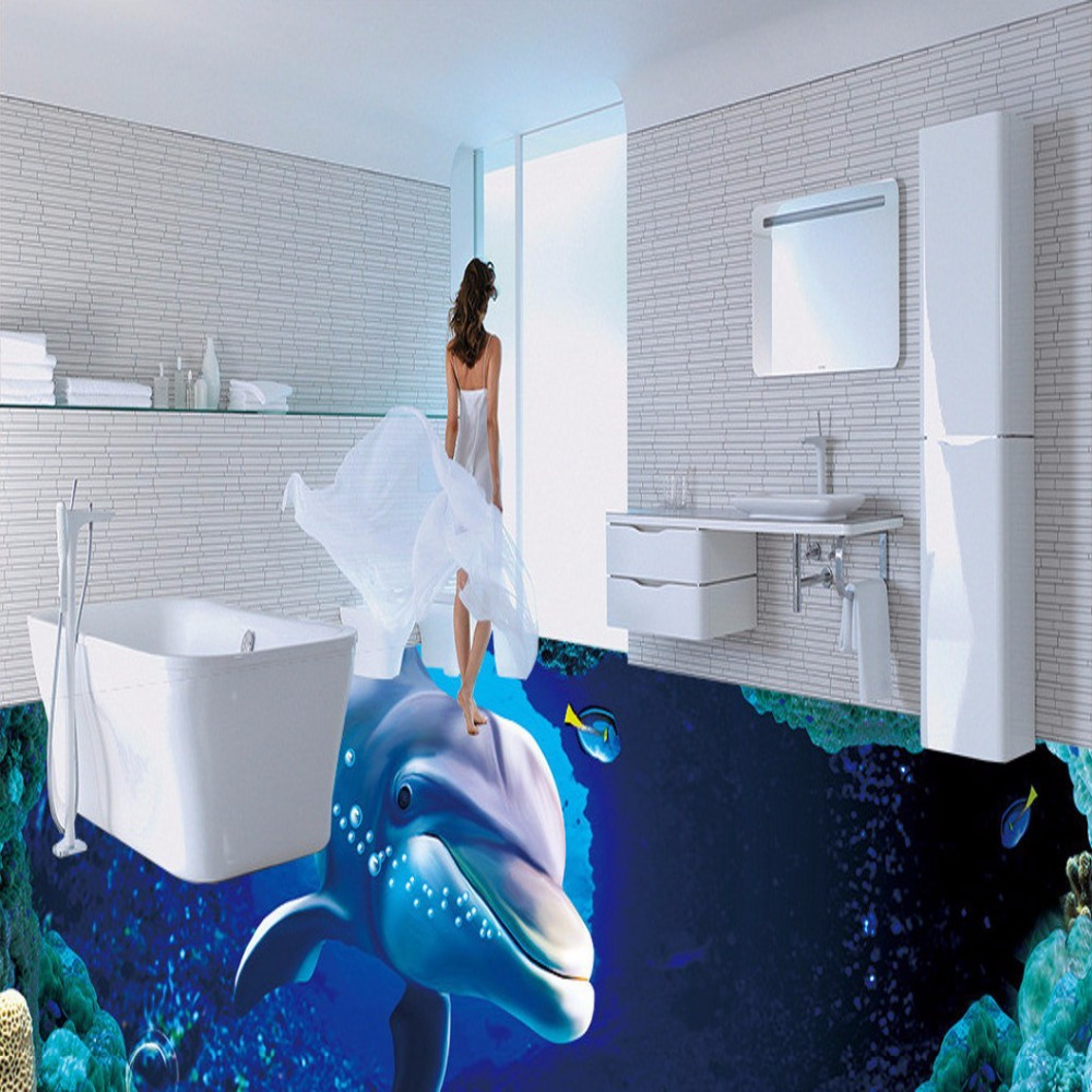 Free Shipping custom latest 3D marine dolphin flooring painting dancing room office studio floor wallpaper mural<br>