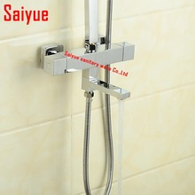 Wall Mounted Thermostatic Bath & Shower Mixer  Solid Brass Chrome Square Style Thermostat Bathtub Faucet