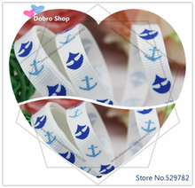 "Cartoon 3/8""9mm Printed Lovely Blue Anchors Grosgrain Ribbon(White),Zakka for Sewing,Hair Bows,DIY Crafts,Children Accessories"