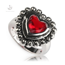 Fleure Esme Recommend Bezel Setting Rhodium Plated Rings Red Cubic Zirconia R305 Size #6 8 9 10 Rave reviews Engagement Wedding