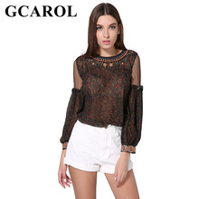 Buy GCAROL 2018 Euro Style Women Embroidered Floral Blouse Organza Spliced Sleeve Summer Spring Sexy Fashion Tops ladies for $13.58 in AliExpress store