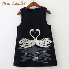 Bear Leader Girls Dress 2017 New Autumn Brand Girls Clothes Sleeveless Lolita Style Swan Embroidery Children Clothing For 2-8Y