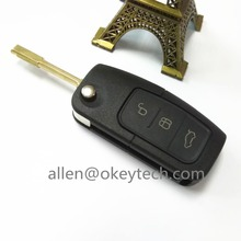 new 3 Button Flip Folding Modification Foot Ben Auto Blank Key Shell Remote FOB Price for Cover Ford Mondeo Use LOGO