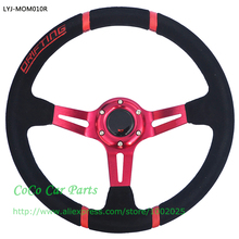 14 Inch Racing Car Steering Wheel Red Color 350mm Drifting Steering Wheel Suede Sport Steering Wheel