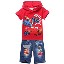 2017 new Babys boys hoodies+jeans cars t-shirt suits Cars boys Cotton children clothing set kids short sleeve clothes set