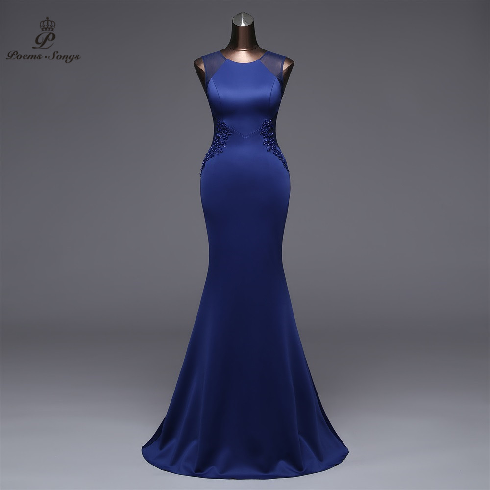 Poems Songs 2019 New Simple Mermaid  Evening Dress prom gowns Formal Party dress vestido de festa Elegant Vintage robe longue(China)