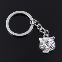new fashion men 30mm keychain DIY metal holder chain vintage angrily tiger head 23*17mm antique silver pendant