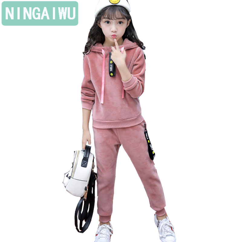 New Childrens clothing leisure suit girls winter baby sports sets long sleeves kids pleuche twinset 4 - 14 year fashion clothes<br>