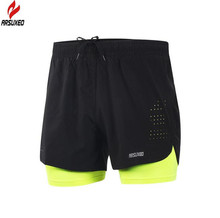 ARSUXEO Men's 2 in 1 Running Shorts Quick Dry Marathon Training Fitness Running Cycling Sports Shorts Trunks