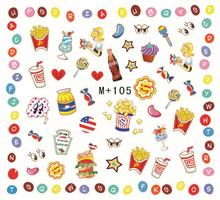 1card popular Style cute food Nail Art Water Transfer Sticker Pattern Manicure Nail Art Water Decal(China)