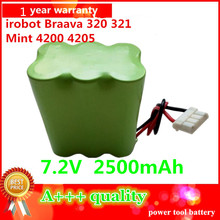 7.2V 2500mAh NI-MH Replacement Battery  For Mint 4200 4205 irobot Braava320 321 Vacuum Cleaner Battery Pack with PTC protect