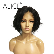 ALICE Short Glueless Lace Front Human Hair Wigs With Baby Hair 8-14 Inches Non Remy Peruvian Wigs For Black Women Bleached Knots(China)