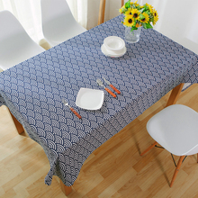 Tablecloths Japanese Style Linen Tablecloth Blue Dinette Printed Large Table Cloths Stripe Microwave Toalha De Mesa Tablo(China)