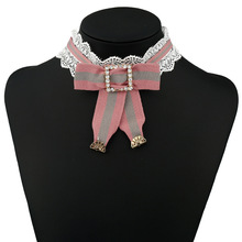 2017 New Elegant Princess Bow Choker Necklace Luxurious Lace Ribbon Necklace Clothes Accessories Club Party Women Necklace Gift
