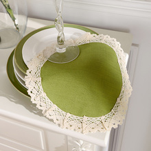 Modern Round Lace Placemats Table Pastoral LinenTablemats Elegant Striped Doily Desk Accessories Fabric Lace Doilies