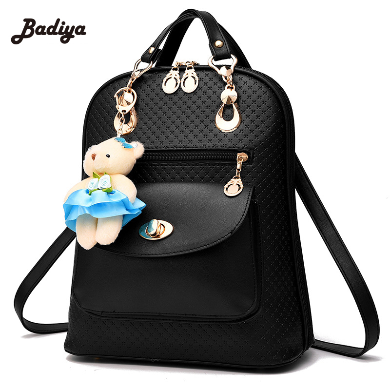 PU Leather Women Backpack New Arrival Korean Style Ladies Bakcpack With Bear Pendent Preppy Fashion School Bags<br>