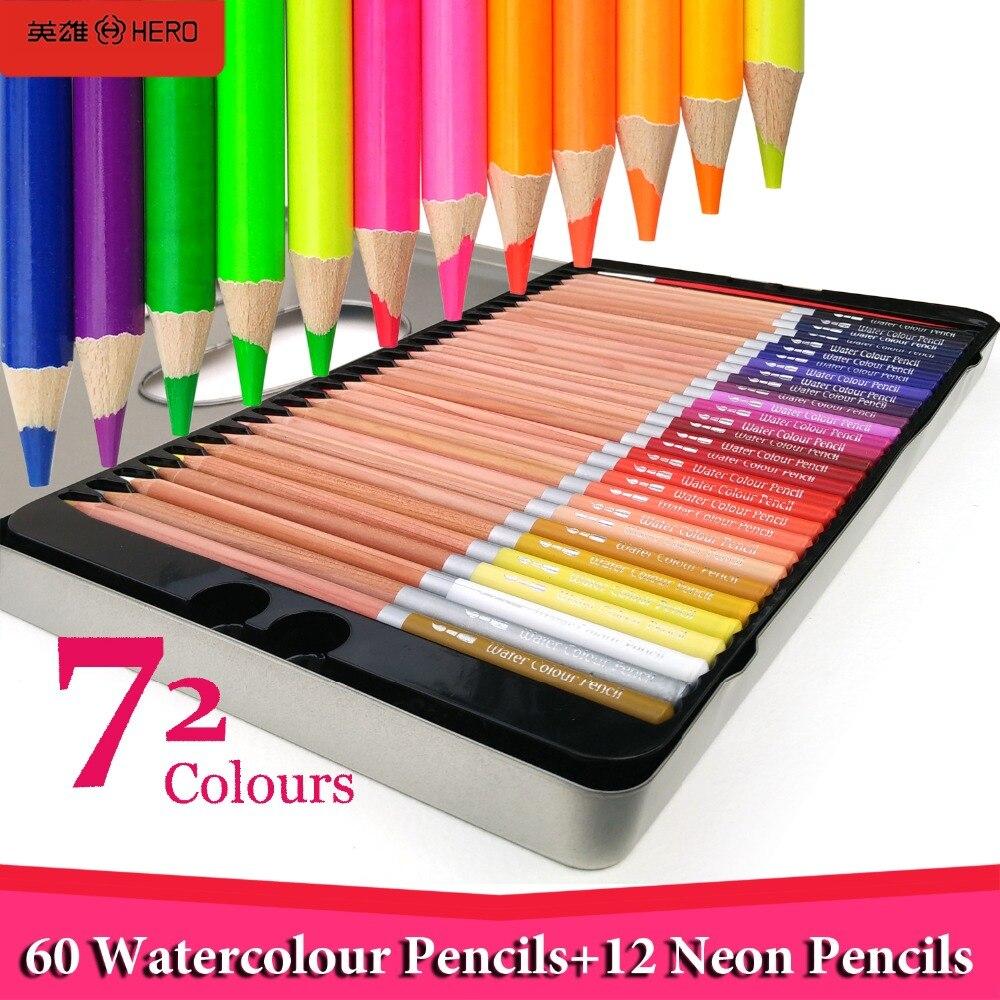 Hero 72 Colored Pencils Watercolor Pencil Lapis De Cor Aquarela Profissional 12 Neon Coloring Pencils Lapis de Cor for Drawing<br><br>Aliexpress