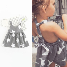 1-6Y 2017 Summer Children Clothing Baby Girls Star Pattern Striped Casual Halter Strap Backless Dress