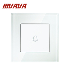 MVAVA 1 Gang Push Wall Door Bell Switch Luxury Fire Proof White Crystal Glass Material Panel 110-250V 16A Free Shipping