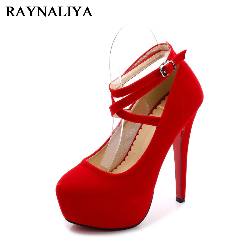 Women Stiletto High Heels Platfrom Pumps Ladies Ankle Strap Round Toe Pumps Shoes Size 35-46 Black Red Blue WZ-A0026<br>