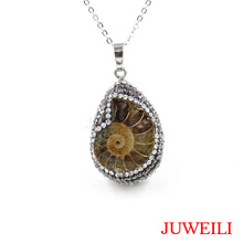 JUWEILI Jewelry Retail 1x Beautiful Clay Rhinestones Natural Stone Ammonite Conch Petrification Reiki Pendant Necklaces(China)