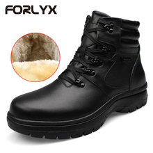 FORLYX Big Size 54 Men Snow Boots Genuine Leather Mens Winter Boots Ankle Lace Natural Fur Warm mens Shoes Waterproof Botas